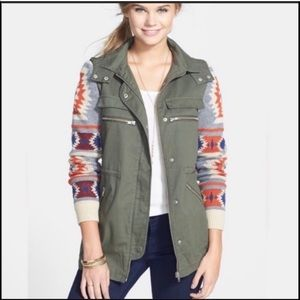 Hooded Jacket Army Green Graphic Sleeve
